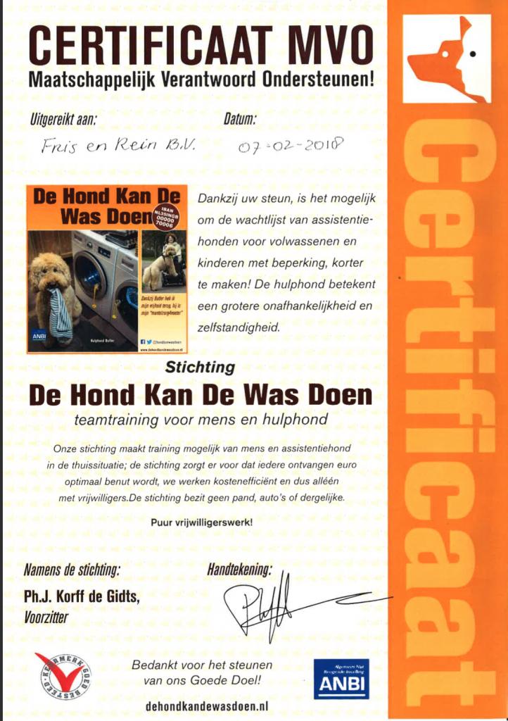 Certificaat MVO Stichting de hond kan de was doen